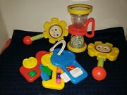 Vintage 1970s Fisher Price Baby Rattles Toys Shake Roll Hourglass Flower Keys
