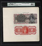 Brazil Face And Back 2 Mils Reis October 1917 P13p Proof Uncirculated