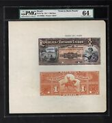Brazil Face And Back One Mil Reis October 1917 P5p Proof Uncirculated