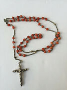 Antique Sterling Silver Natual Coral Bead Rosary