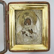 Antique Russian Orthodox Icon Vladimir Mother Of God Tender Mercy Hand Painted