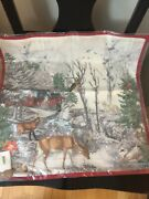 New Pottery Barn Woodland Creatures Printed Pillow Cover Christmas Deer Owl Fox