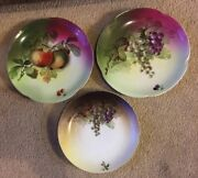 3 J And C Bavaria Louise Hand Painted Signed Porcelain Plates Apples And Grapes