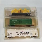 Lot Of 3 Model Power N Scale Freight Train Cars Shell Cattle Chemplex Plastics