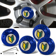 Universal Aluminum Wheel Rim Center Cap Cover Wakaba Leaf Logo Jdm Badge Blue