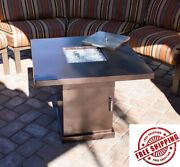 Fire Pit Table Propane Gas Outdoor Heater Fireplace Yard Patio Hiland Deck 30in