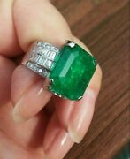 15.05 Ct Colombian Green Emerald And White Cz Wedding Engagement Silver Rings New