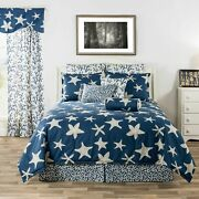 3-10 Pc Blue And White Starfish And Coral Comforter Bedding Set Palm Beach