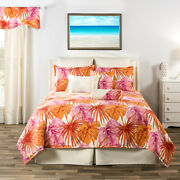 3-10 Pc Pink And Orange Tropical Fronds And Foliage Comforter Bedding South Beach