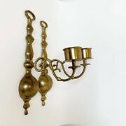 """Vintage Set Of Solid Brass Candlestick Holder Wall Hanging Sconce 12.25"""" Tall"""