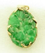 Antique 14 Kt Gold Chinese Hand Carved A Jadeite Natural Seed Pearls Pendant