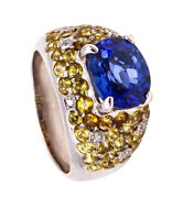 Modern 18 Kt Cocktail Ring With 7.46 Cts Blue And Yellow Sapphires