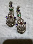 18k And Sterling Silver Earrings With Ruby And Diamonds Estate Collection
