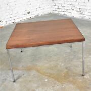 Mid Century Modern Chrome And Walnut End Or Coffee Table After Florence Knoll