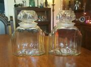 2 Antique Art Deco Apothecary Candy Jar Drug Store Pharmacy Deco Era Clear Glass