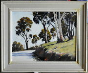 Dudley Parker 1914-89 Original Oil Painting The Sunlit Road To Wee Jasper Nsw