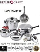Health Craft 11pc 7ply T304s Magnetic Stainless Steel Waterless Cookware Set