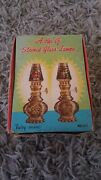 2 Vintage In Box Fairy Brand Decorative Red Glass Oil Lamps/lanterns