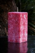 230hr Red Christmas Pine Tree Scented Premium Square Candle Table Decorations