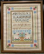 Vintage Cross Stitch Embroidery Alphabet Sampler Country Flowers Birds Large Wow