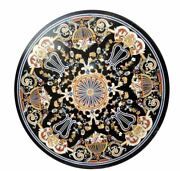42 Round Marble Table Top Precious Stones Inlay Marquetry Art Home Decor