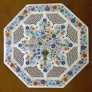 24 X 24 White Marble Table Top Grill Floral Pietra Dura Handmade Work