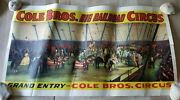 Vintage Cole Bros Litho Railroad Circus Poster Grand Entry Clowns Horse Elephant
