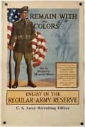 Original Vintage Poster Remain With The Colors Army Reserve World War Wwii Usa