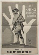 Original Vintage Poster Us Marines Uncle Sam's Right Hand Wwi World War Military
