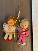 6 Vintage Christmas Ornaments Felt Toy Soldiers, Angels ,dog And Cat Made In Japan
