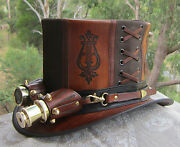 Gothic Leather Steampunk / Cosplay Victorian Harps Lyre Top Hat /aviator Goggles