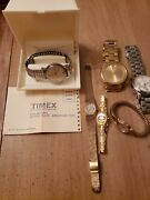 Lot Of Vintage Modern Wrist Watches Timex Accutron Michaels Kors Mixed Lot