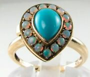 Divine 9k 9ct Gold Turquoise And Aus Opal Teardrop Locket Poison Art Deco Ins Ring