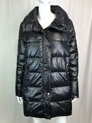 Haven Outerwear Women Large Black Shiny Quilted Winter Puffer Jacket Coat Parka