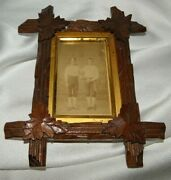 Antique Victorian Tramp Art Frameantique Picture Of 2 Baseball Players8x 6.5
