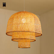 Bamboo Rattan Pendant Light Fixture Vintage Rustic Country Style Hanging Lamp