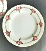 7 Cowell And Hubbard Gold Trim Painted Roses Floral Salad Luncheon Plate 8 5/8