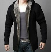 Sweater Menand039s Knitted Jacket Cardigan Coat Hooded Faux Fur Lined Thicken Weave