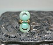14k Solid Yellow Gold Natural Untreated Jadeite Jade And Diamond Ring Size 7