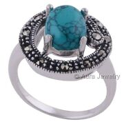 Solid 925 Sterling Silver Ring With Turquoise Marcasite Jewelry R1861-1