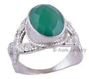 Solid 925 Sterling Silver Green Onyx Gemstone Cocktail Ring Jewelry R1739-1