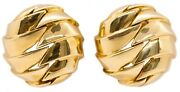 And Co. 18 Kt Yellow Gold Bold Geometric Earrings Clips Very Rare Vintage