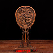 China Antique Boxwood Double Faced Carving Lotus Flower Fish Patterns Ornament