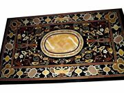 48 X 32 Black Marble Table Top Semi Precious Stone Inlaid Floral Works