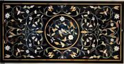 48 X 24 Black Marble Dining Floral Table Top Pietra Dura Inlay Handmade Work