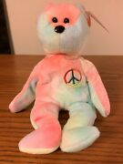 Peace Bear Beanie Baby Extremely Rare No Errors Colorful Ty Collectible 2