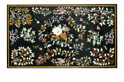 48 X 30 Black Marble Dining Table Top Pietra Dura Inlay Art Floral Home Decor