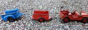 Marx Willyand039s Jeep And Trailer Toy Red Truck Original Condition W Bonus 3 Pieces