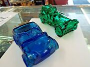 Vintage - 2 Pieces, Glass Old Car/automobile Bottles, Blue And Green, Make Offers