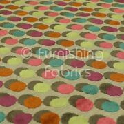 Spotted Polka Rounded Dot Pattern Quality Velvet Multicolored Upholstery Fabric